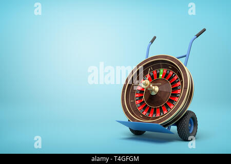 3d rendering of navy blue hand truck standing upright with casino roulette wheel on it on light-blue background. - Stock Photo