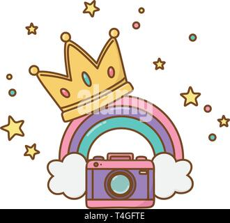 camera and crown with rainbow icon cartoon vector illustration graphic design - Stock Photo