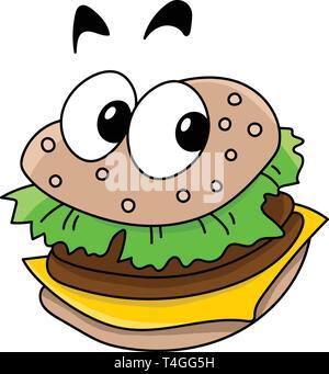 Cartoon delicious ready to eat  cheeseburger looking at camera vector illustration - Stock Photo