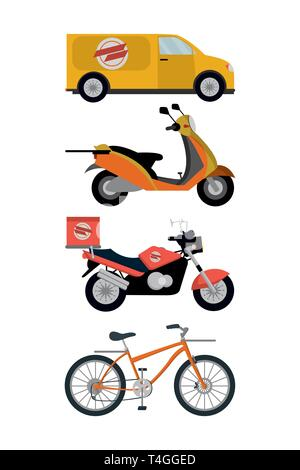 city delivery service vehicles items isolatedated icons vector illustration graphic design - Stock Photo