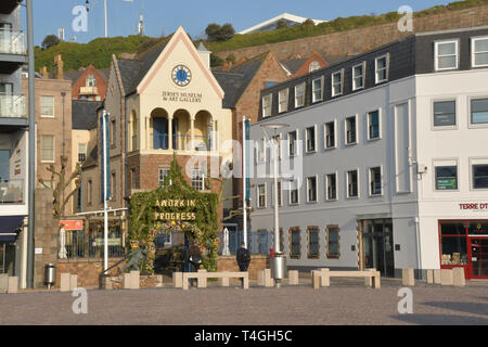 Jersey Museum and Art Gallery in the centre of St Helier. Jersey,Channel Islands, UK. - Stock Photo