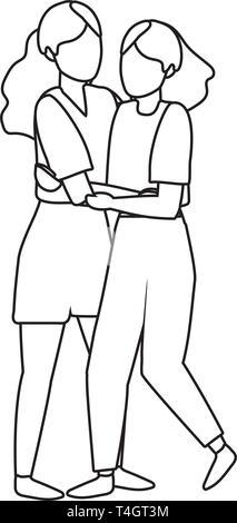 young women hugging cartoon vector illustration graphic design - Stock Photo
