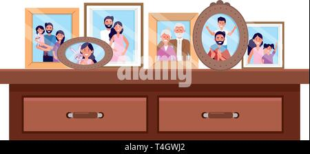 desk with photo frames icon cartoon isolated vector illustration graphic design - Stock Photo