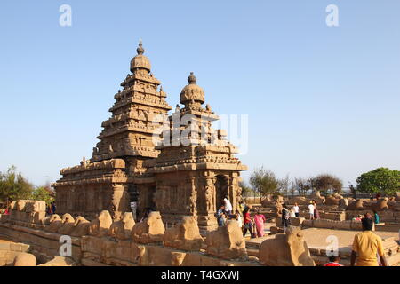 Shore Temple Complex in Mahabalipuram, Kanchipuram, Tamil Nadu, India - Stock Photo