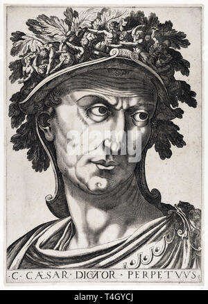 Julius Caesar portrait, from 'The Twelve Caesars', etching, c. 1610 - Stock Photo