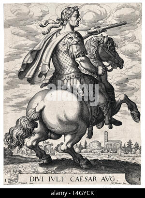 Emperor Julius Caesar on Horseback, from ' The First Twelve Roman Caesars', Matthäus Merian the Elder after Tempesta, c. 1610 - Stock Photo