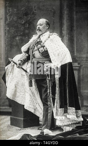 Portrait photograph of King Edward VII of the United Kingdom in his Coronation Robes, 9 August 1902 by W&D Downey - Stock Photo