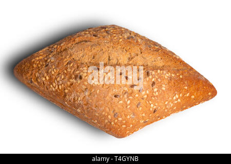 whole wheat bread isolated on white background - Stock Photo