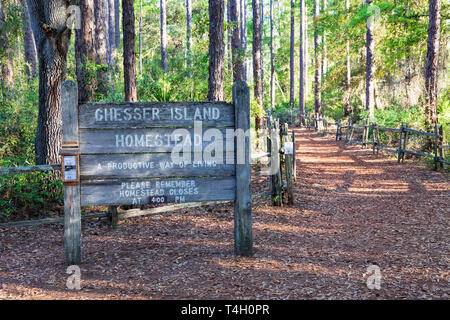 Okefenokee Swamp, Folkston, GA, USA-3/29/19:  A sign marking trail to the Chesser Island Homestead. - Stock Photo