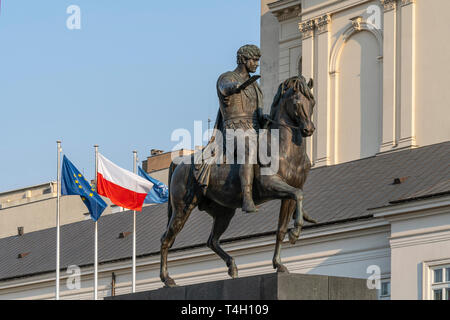 Warsaw, Poland. April 2019.   the Monument to Józef Poniatowski in the courtyard of  the Presidential Palace - Stock Photo