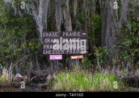 Okefenokee Swamp, Folkston, GA, USA-3/29/19:  Directional signs in the swamp, to guide boats. - Stock Photo