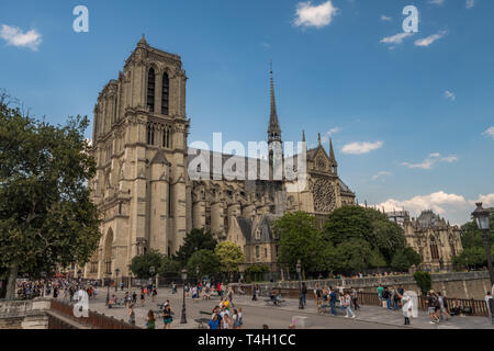 Paris, France, 06/30/2018 Notre Dame Cathedral - Stock Photo