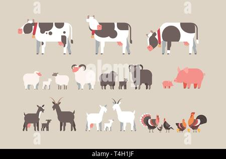 set farm animal cow goat pig turkey sheep chicken icons different domestic animals collection farming concept flat horizontal - Stock Photo