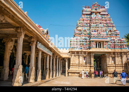 Horizontal view inside the Sri Ranganathaswamy Temple complex in Trichy, India. - Stock Photo
