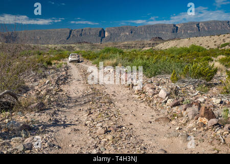 Vehicle on River Road, Sierra Ponce mesa in Mexico in distance, Chihuahuan Desert borderland, Big Bend National Park, Texas, USA
