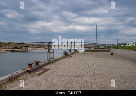 Irvine Harbour North Ayrshire Scotland and the old Science Museum Bridge with its art work soon to be redeveloped under the Ardeer Redevelopment Proje - Stock Photo