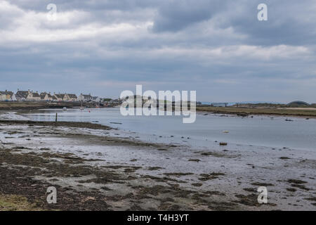 Irvine Harbour North Ayrshire Scotland and looking up to the old Science Museum Bridge in the far distance soon to be redeveloped under the Ardeer Red - Stock Photo