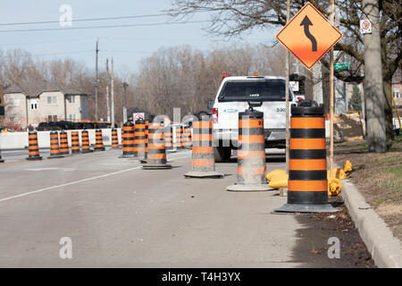 Construction Road Closure City Road Urban Major Road Detour - Stock Photo