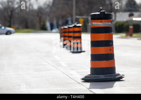 Construction Road Closure City Road Urban Major Road Detour Pylons - Stock Photo