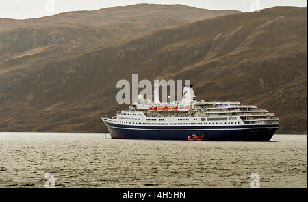 CMV MARCO POLO CRUISE LINER ANCHORED IN LOCH BROOM OFF ULLAPOOL SCOTLAND - Stock Photo
