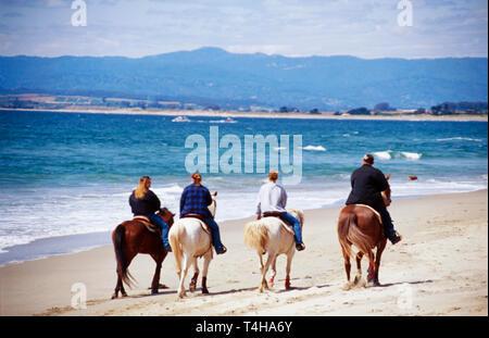 California Monterey County Moss Landing Salinas River State Park horseback riders - Stock Photo