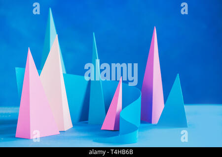 Abstract pastel tone header. Origami papercraft sculpture in pastel tones. Vibrant design template with modern shapes and copy space - Stock Photo