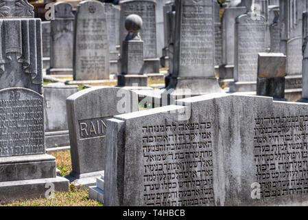 Headstones in the Jewish Section of Historic Oakland Cemetery in Atlanta, Georgia. (USA) - Stock Photo