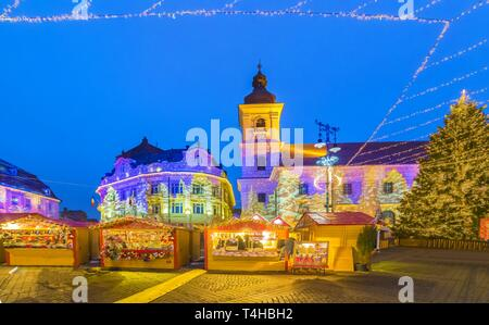 Christmas Market in Sibiu, Transylvania, Romania - Stock Photo