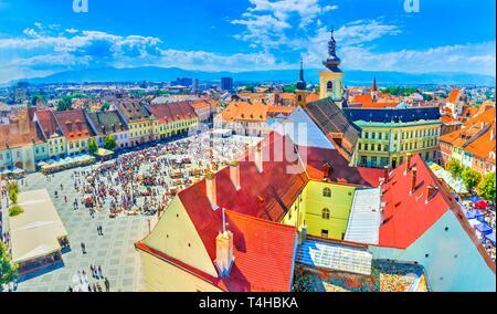 Aerial view over Sibiu,  Transylvania, Romania - Stock Photo