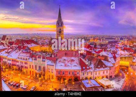 Aerial view over Saint Mary cathedral in winter season, Sibiu,  Transylvania, Romania - Stock Photo
