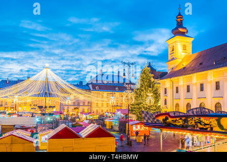 Sibiu Christmas Market, Transylvania, Romania - Stock Photo