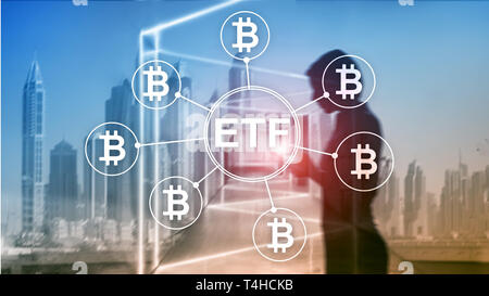Bitcoin ETF cryptocurrency trading and investment concept on double exposure background. - Stock Photo