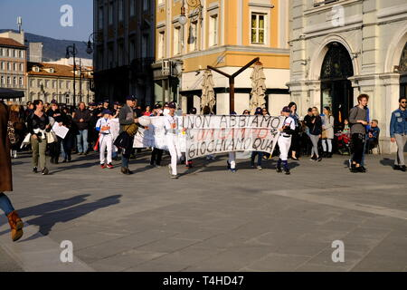 Local kids team protesting on central square that they do not have a playing field for the local baseball team, in Trieste,  Italy - April 16, 2019 - Stock Photo