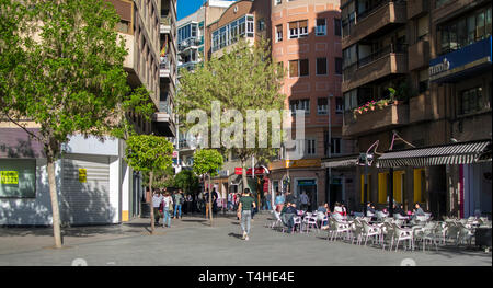Murcia, Spain; April 15, 2019: Streets and buildings in center historic of the city of Murcia in Santo Domingo Square. - Stock Photo