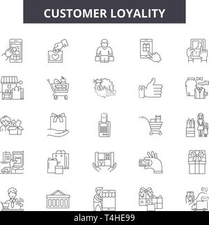 Customer loyality line icons, signs set, vector. Customer loyality outline concept illustration: customer,marketing,business,loyalty,loyal,client,serv - Stock Photo
