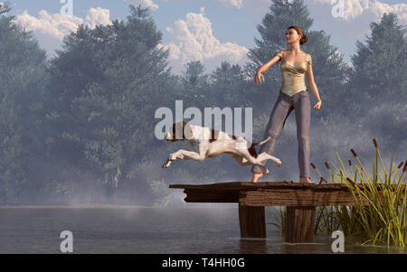 A brown and white English pointer leaps off an old wooden dock into a tree-lined lake. Behind the dog, a barefoot woman in jeans has thrown a ball. - Stock Photo