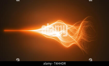 wave motion with glowing energy trails. 3d illustration