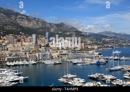 Port Hercules, Harbor, Monte Carlo, Monaco, Cote d'Azur, Mediterranean, Europe - Stock Photo