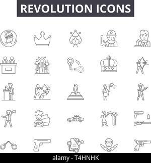 Revolution line icons, signs set, vector. Revolution outline concept, illustration: revolution,defist,freedom,concept,background,symbol - Stock Photo