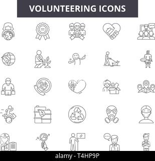 Volunteering line icons, signs set, vector. Volunteering outline concept, illustration: volunteer,charity,hand,love,human,people,care - Stock Photo