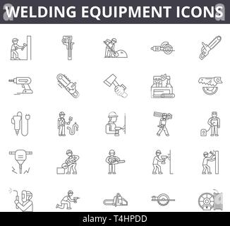 Welding equipment line icons, signs set, vector. Welding equipment outline concept, illustration: equipment,welding,work,mask,industry,industrial - Stock Photo