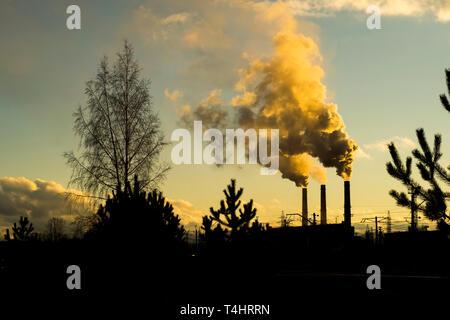 smoke from factory chimneys, environment - Stock Photo