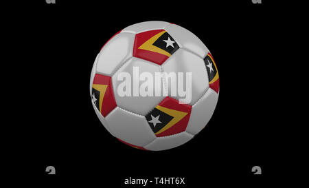 Soccer ball with flag Timor-Leste colors, 3d rendering - Stock Photo