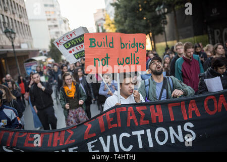 Athen, Greece. 16th Apr, 2019. Members of anti-racist organisations and trade unions call for slogans during a demonstration against refugee expulsions. Credit: Socrates Baltagiannis/dpa/Alamy Live News - Stock Photo