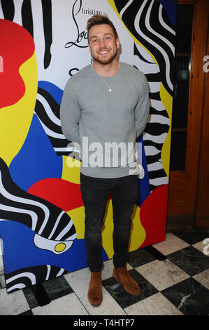 London, UK. 16th Apr, 2019. Sam Thompson, Seen arriving for the Artist installation Night of Optical Illusions by Christian Lou-Bouton, and Philip Colbert, at the 35 Dover Street, London. Credit: Terry Scott/SOPA Images/ZUMA Wire/Alamy Live News