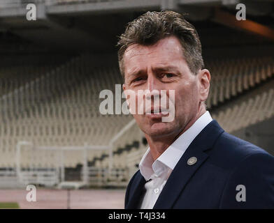 FILED - 23 March 2018, Greece, Athen: Soccer: International matches, Greece - Switzerland in the OAKA Stadium. The Greek coach, Michael Skibbe from Germany, is on the sidelines. Bundesliga soccer team Borussia Dortmund brings back two old acquaintances. Michael Skibbe as U19 coach and head coach of all youth teams as well as O. Addo in a new function as talent coach in the interface between juniors and professionals will start their activities at BVB on July 1, as the runner-up announced on Wednesday (April 17, 2019). Photo: Angelos Tzortzinis/dpa - Stock Photo