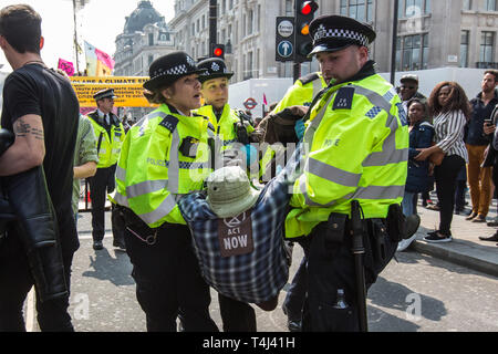 London,UK. 17 April, 2019.  Police move to make arrests as Extinction Rebellion protesters in Oxford Circus continue to shut down parts of central London with road blocks, a boat at Oxford Circus and a garden on Waterloo Bridge. David Rowe/ Alamy Live News. - Stock Photo