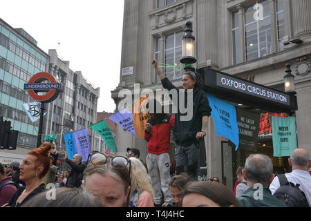 London, UK. 17th Apr, 2019. Activists demotration and camping in the middle of Oxford Street demand the UK govt to act on climate change or we will be camping as long as until we get our demand. As a journalist is it a threat or blackmail the UK govt. If the UK govt give in or surrender to their demand doesnt makes the govt weak? on 17 April 2019, London, UK. Credit: Picture Capital/Alamy Live News - Stock Photo