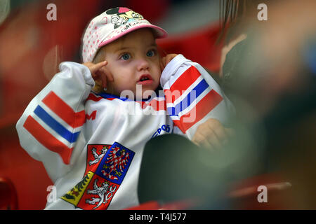 Karlovy Vary, Czech Republic. 17th Apr, 2019. Czech fan is seen during the Euro Hockey Challenge match Czech Republic vs Germany in Karlovy Vary, Czech Republic, April 17, 2019. Credit: Slavomir Kubes/CTK Photo/Alamy Live News - Stock Photo