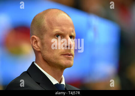 Karlovy Vary, Czech Republic. 17th Apr, 2019. Toni Soederholm, coach of Germany, is seen during the Euro Hockey Challenge match Czech Republic vs Germany in Karlovy Vary, Czech Republic, April 17, 2019. Credit: Slavomir Kubes/CTK Photo/Alamy Live News - Stock Photo